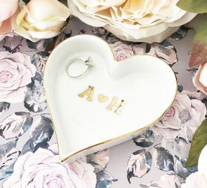 Couple Monogram Heart Shaped Ring Dish image