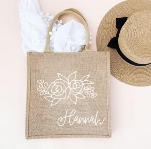 Personalized Floral Silhouette Burlap Tote image