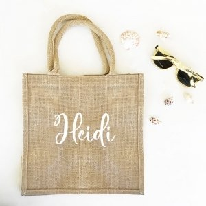 Personalized Burlap Tote Bag image