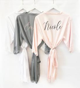 Personalized Satin Lace Robe image