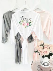 Personalized Floral Satin Robe image
