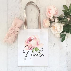 Personalized Spring Rose Tote image