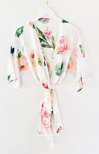 Monogram Spring Rose Satin Robe image