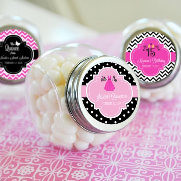 Personalized Quinceanera Party Favor Candy Jars