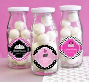 Personalized Quincenera Party Favor Milk Bottles image