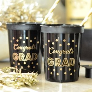 Gold & Black Graduation Party Cups (Set of 25) image