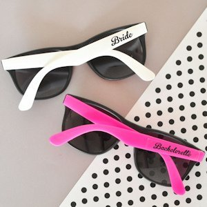 Hot Pink & White Bachelorette Party Sunglasses (Set of 6) image