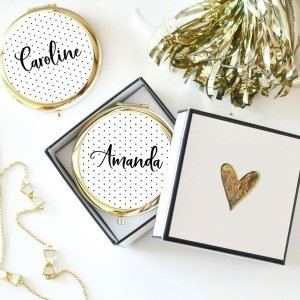 Personalized Polka Dot Compact Mirrors image