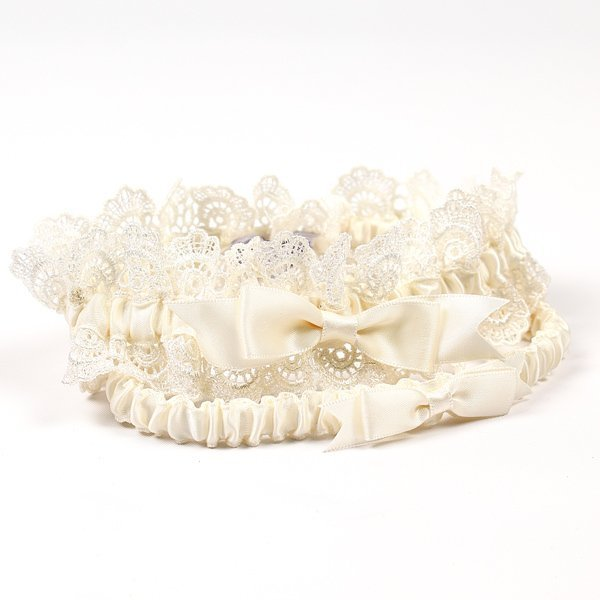 Ivory Garters Wedding: Eleanor Lace Ivory Wedding Garter Set