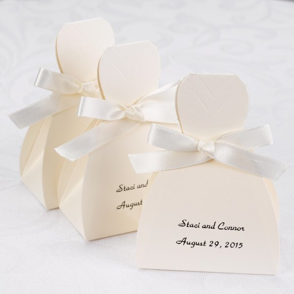 Wedding Gown Boxes: Personalized Brown Tux & Ivory Gown Boxes (Set Of 25