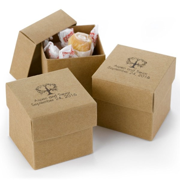 Mix And Match Personalized Kraft Favor Boxes Set Of 25