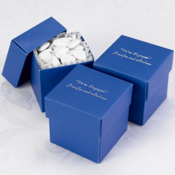 Royal Wedding Gifts: Mix And Match Personalized Royal Blue Favor Box (Set Of 25
