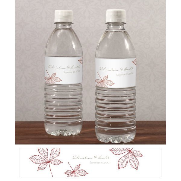Water Bottle Set: Autumn Leaf Water Bottle Labels (Set Of 10