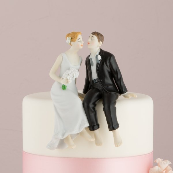 making wedding cake toppers bride groom whimsical barefoot sitting and groom cake top 17079