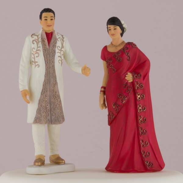 Indian Bride Groom In Traditional Dress Cake Topper