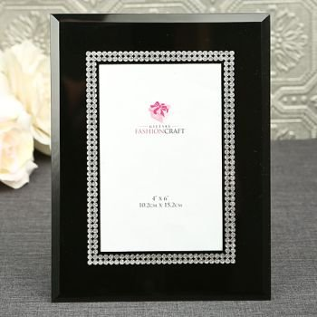 Black Glass 4 x 6 Frame with Silver Accents image