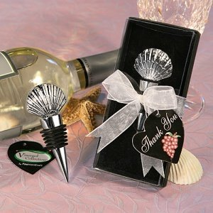 Shell-topped Chrome Bottle Stopper in Deluxe Gift Box image