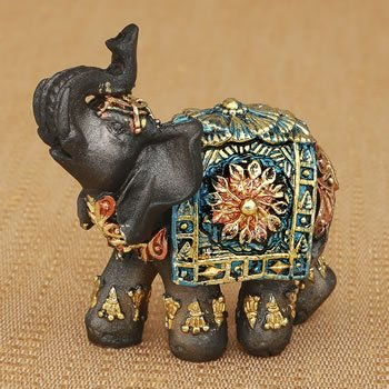 Mini Mahogany Brown Elephant with Colorful Blanket image