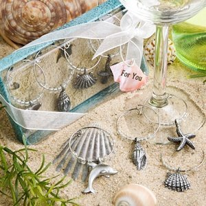 Beach Themed Wine Charms in Deluxe Gift Box (Set of 4) image