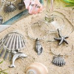 Beach Themed Wine Charms in Deluxe Gift Box (Set of 4)