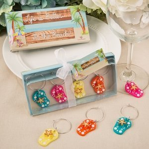 Beach Themed Flip Flop Wine Charm Favors image