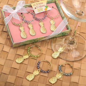 Tropical Gold Pineapple Wine Charm Set Favors image