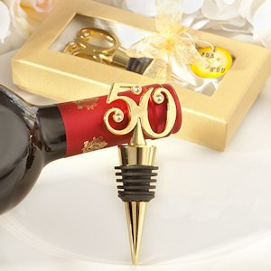 Golden 50 Anniversary Wine Bottle Stopper Party Favors image