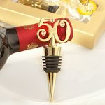Golden 50 Anniversary Wine Bottle Stopper Party Favors