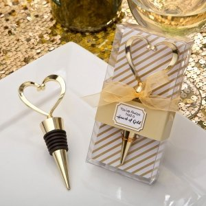 Gold Heart Design Metal Bottle Stopper Favors image