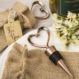 Copper Heart Metal Bottle Stopper with a Burlap Favor Bag image