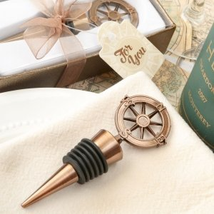 Compass Design Bronze Metal Bottle Stopper Favors image