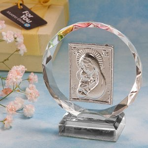 Madonna and Child Round Crystal Plaque image