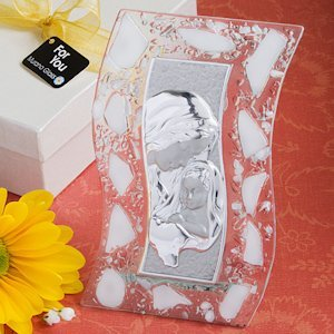 Murano Glass Madonna and Child White Plaque image