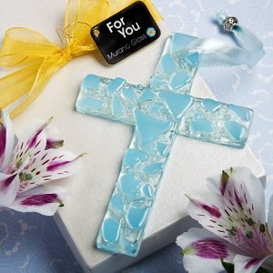 Hanging Blue Murano Glass Cross Favors image