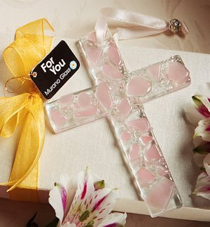 Murano Glass Hanging Pink Cross image