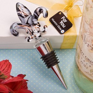 Glass Fleur de Lis Wine Bottle Stopper Favor image