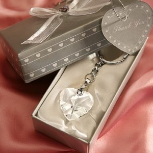 Crystal Heart Key Chain Wedding Party Favors image