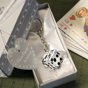 Crystal Roll The Dice Casino Themed Favor Keychains image