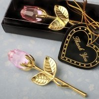 Choice Crystal Gold Long Stem Pink Rose Favors