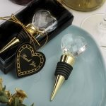 Choice Crystal Heart Design Gold Bottle Stopper Favors