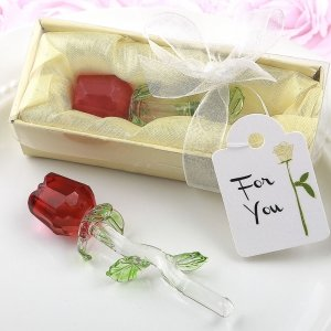Crystal Long Stem Red Rose Favors image