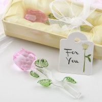 Exquisite Crystal Long Stem Pink Rose Favors