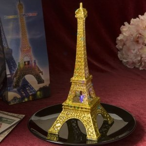 Eiffel Tower Centerpiece With Gold Glitter and LED Lights image