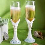 Shimmering Starfish Champagne Flutes