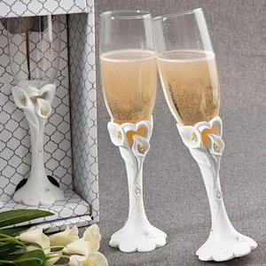 Calla Lily Design Wedding Toasting Flutes image