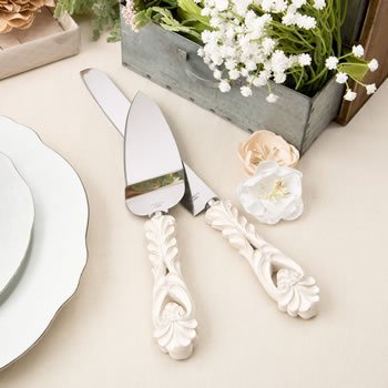 Vintage Flair Design Ivory Cake Server and Knife Set image