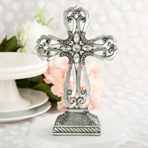 Large Pewter Cross Statue with Antique Accents image