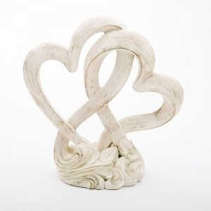 Vintage Style Double Heart Design Cake Topper image