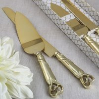 Gold Double Heart Two Piece Cake Knife Set