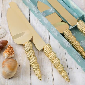 Conch Sea Shell Design Knife and Server Set image